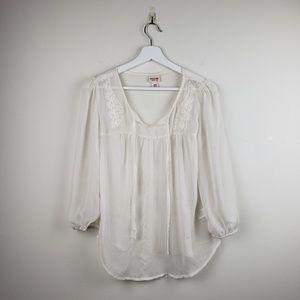 Mossimo Women's medium Sheer white blouse